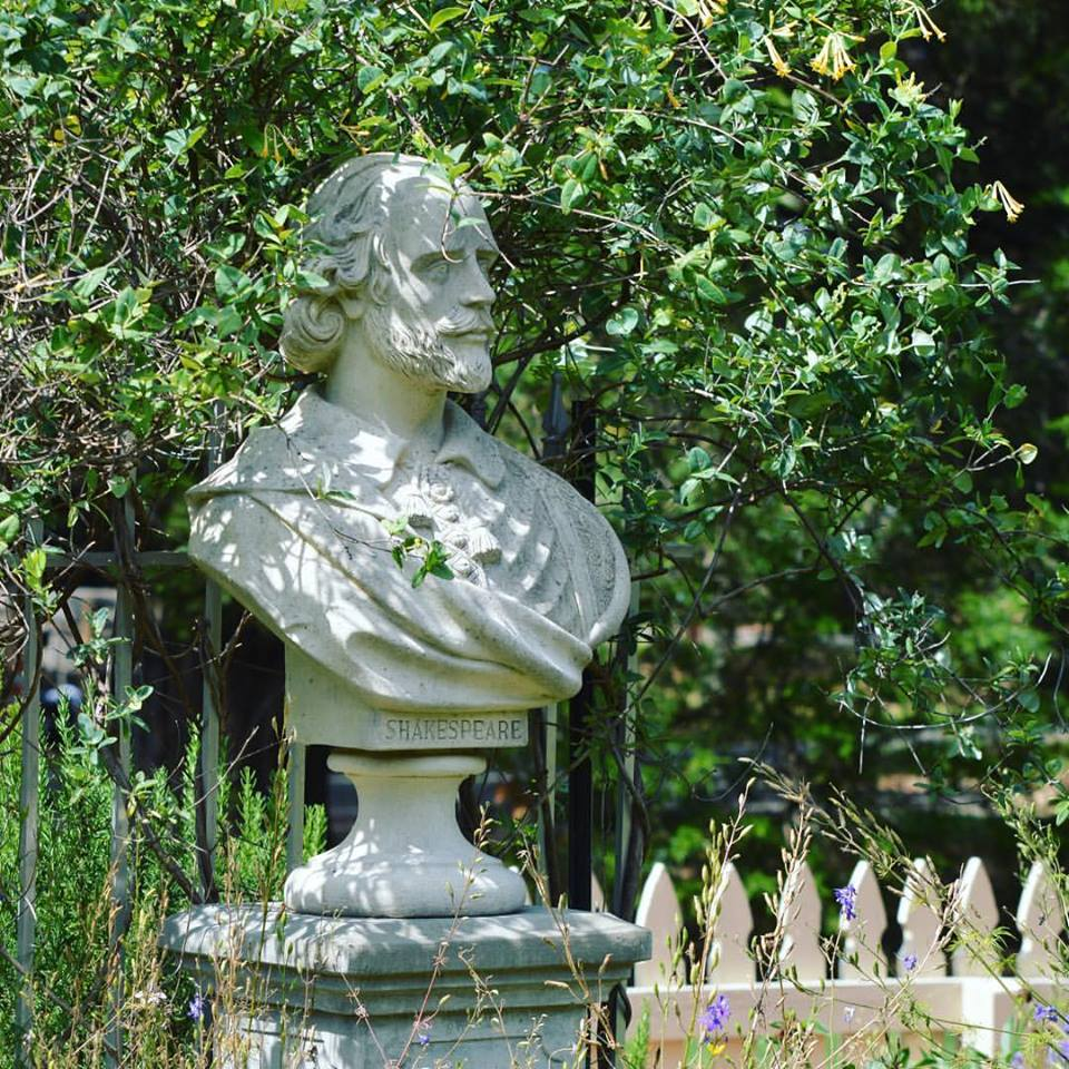 Shakespeare's bust in the Herb Garden