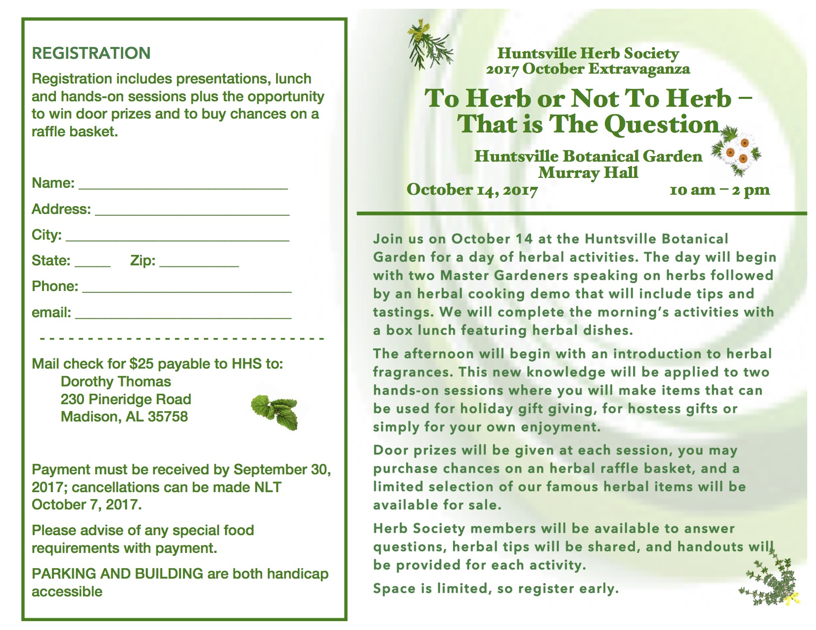 Huntsville Herb Society - October Extravaganza @ Murray Hall